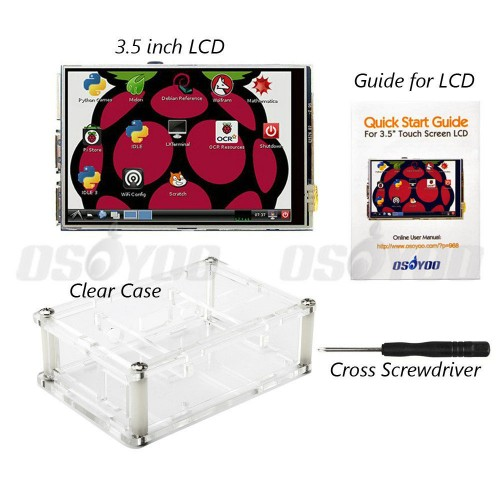 "3.5"" LCD TFT Touch Screen Display with Stylus for Raspberry Pi 2 Pi 3 + Acrylic transparent Case"