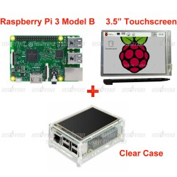 "Raspberry Pi 3 Model B Board +3.5"" LCD Touch Screen Display with Stylus + Acrylic Case Free Shipping"